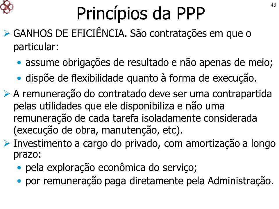 46 Princípios da PPP GANHOS DE EFICIÊNCIA. São contratações em que o particular: assume obrigações de resultado e não apenas de meio; dispõe de flexib
