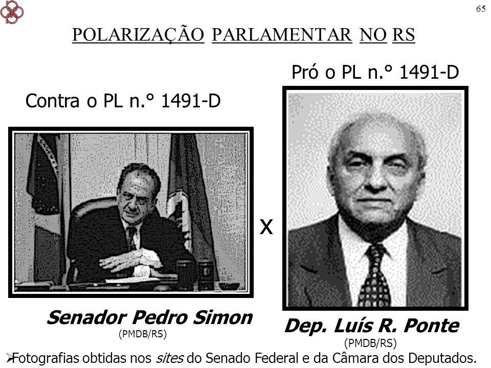 65 POLARIZAÇÃO PARLAMENTAR NO RS Senador Pedro Simon (PMDB/RS) Dep. Luís R. Ponte (PMDB/RS) Pró o PL n.° 1491-D Contra o PL n.° 1491-D x Fotografias o