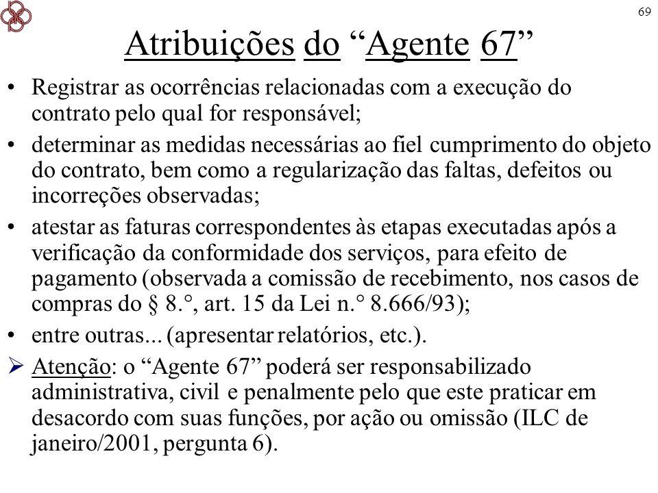 69 Atribuições do Agente 67 Registrar as ocorrências relacionadas com a execução do contrato pelo qual for responsável; determinar as medidas necessár