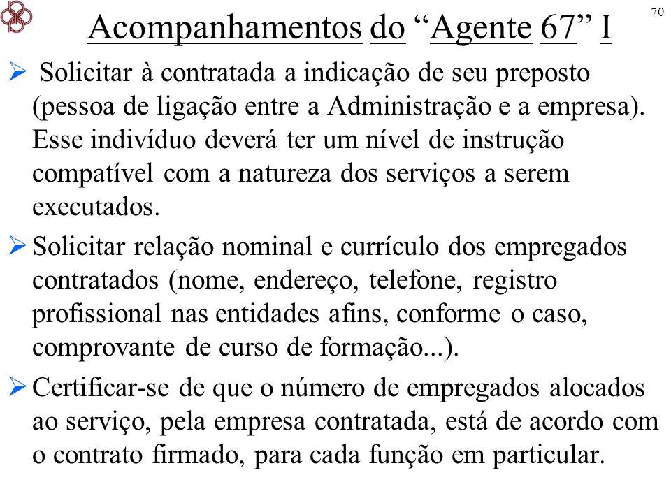70 Acompanhamentos do Agente 67 I Solicitar à contratada a indicação de seu preposto (pessoa de ligação entre a Administração e a empresa). Esse indiv