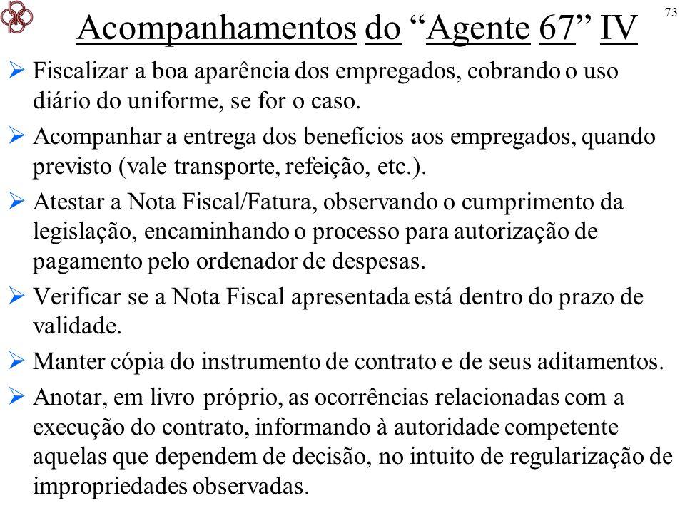 73 Acompanhamentos do Agente 67 IV Fiscalizar a boa aparência dos empregados, cobrando o uso diário do uniforme, se for o caso. Acompanhar a entrega d
