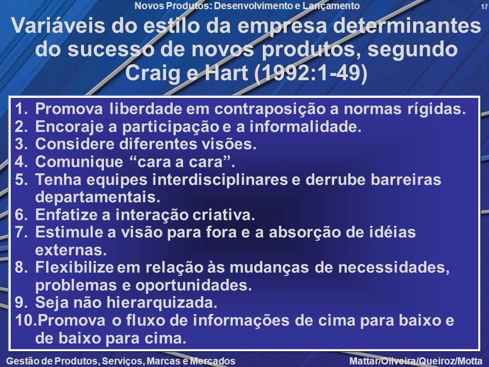 Gestão de Produtos, Serviços, Marcas e Mercados Mattar/Oliveira/Queiroz/Motta Novos Produtos: Desenvolvimento e Lançamento 17 Variáveis do estilo da e