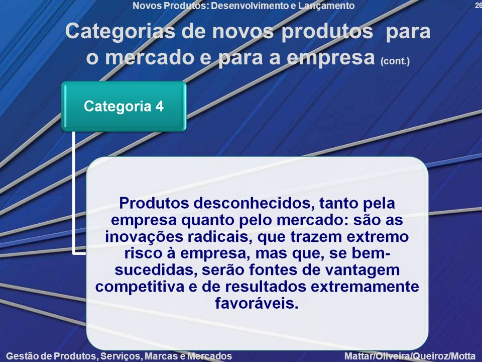 Gestão de Produtos, Serviços, Marcas e Mercados Mattar/Oliveira/Queiroz/Motta Novos Produtos: Desenvolvimento e Lançamento 26 Categorias de novos prod