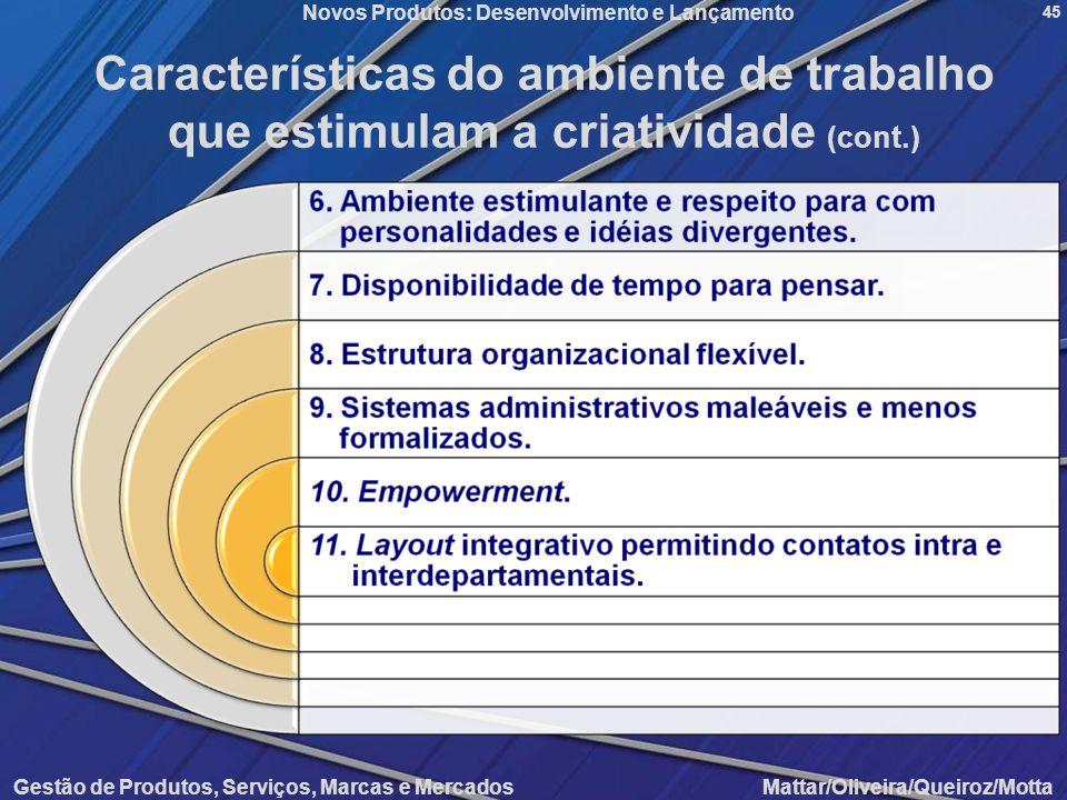 Novos Produtos: Desenvolvimento e Lançamento Gestão de Produtos, Serviços, Marcas e Mercados Mattar/Oliveira/Queiroz/Motta 45 Características do ambie