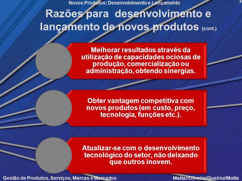Novos Produtos: Desenvolvimento e Lançamento Gestão de Produtos, Serviços, Marcas e Mercados Mattar/Oliveira/Queiroz/Motta 5 Razões para desenvolvimen