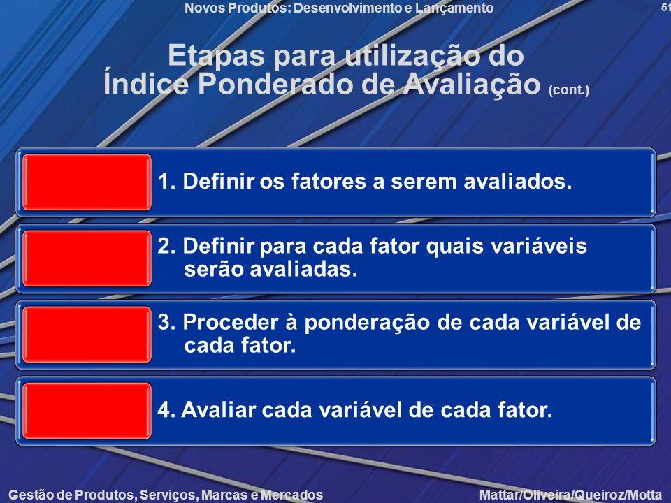 Gestão de Produtos, Serviços, Marcas e Mercados Mattar/Oliveira/Queiroz/Motta Novos Produtos: Desenvolvimento e Lançamento 51 Etapas para utilização d