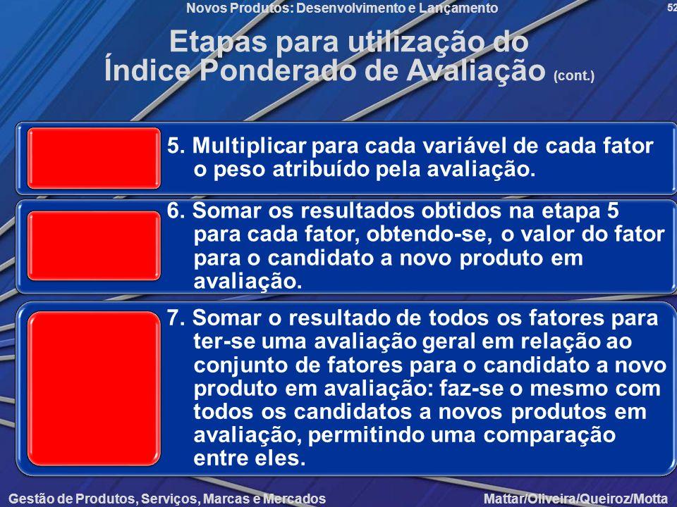 Gestão de Produtos, Serviços, Marcas e Mercados Mattar/Oliveira/Queiroz/Motta Novos Produtos: Desenvolvimento e Lançamento 52 Etapas para utilização d