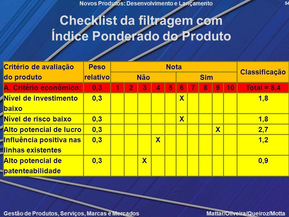Gestão de Produtos, Serviços, Marcas e Mercados Mattar/Oliveira/Queiroz/Motta Novos Produtos: Desenvolvimento e Lançamento 54 Checklist da filtragem c