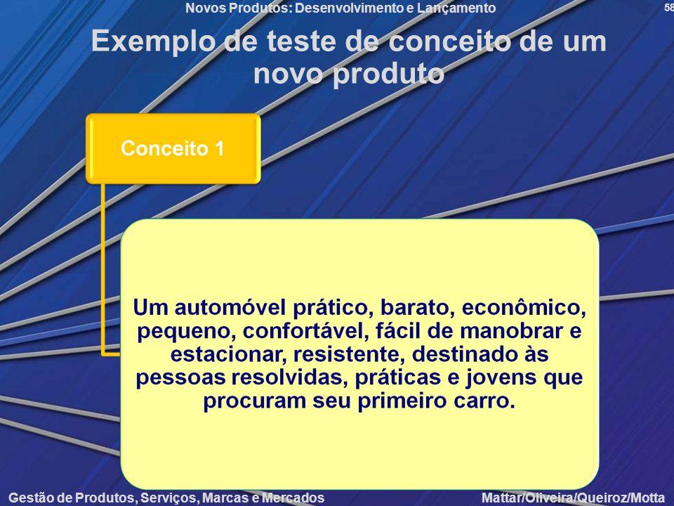 Gestão de Produtos, Serviços, Marcas e Mercados Mattar/Oliveira/Queiroz/Motta Novos Produtos: Desenvolvimento e Lançamento 58 Exemplo de teste de conc
