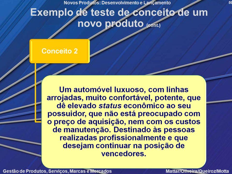 Gestão de Produtos, Serviços, Marcas e Mercados Mattar/Oliveira/Queiroz/Motta Novos Produtos: Desenvolvimento e Lançamento 59 Exemplo de teste de conc