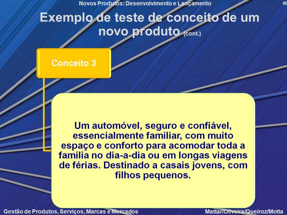 Gestão de Produtos, Serviços, Marcas e Mercados Mattar/Oliveira/Queiroz/Motta Novos Produtos: Desenvolvimento e Lançamento 60 Exemplo de teste de conc