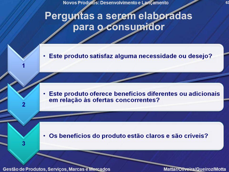 Gestão de Produtos, Serviços, Marcas e Mercados Mattar/Oliveira/Queiroz/Motta Novos Produtos: Desenvolvimento e Lançamento 63 Perguntas a serem elabor