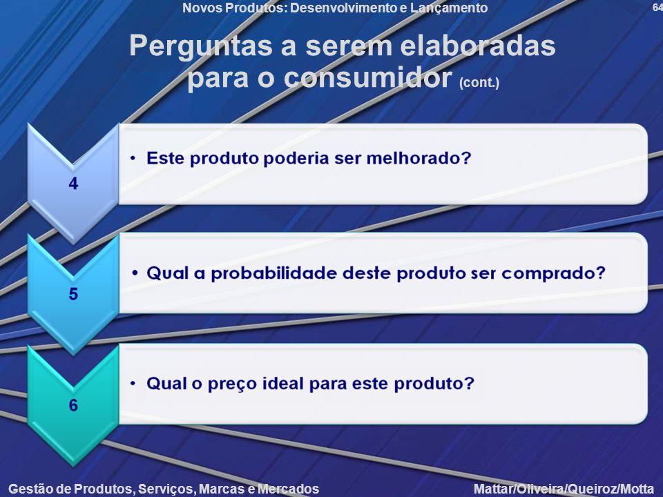 Gestão de Produtos, Serviços, Marcas e Mercados Mattar/Oliveira/Queiroz/Motta Novos Produtos: Desenvolvimento e Lançamento 64 Perguntas a serem elabor