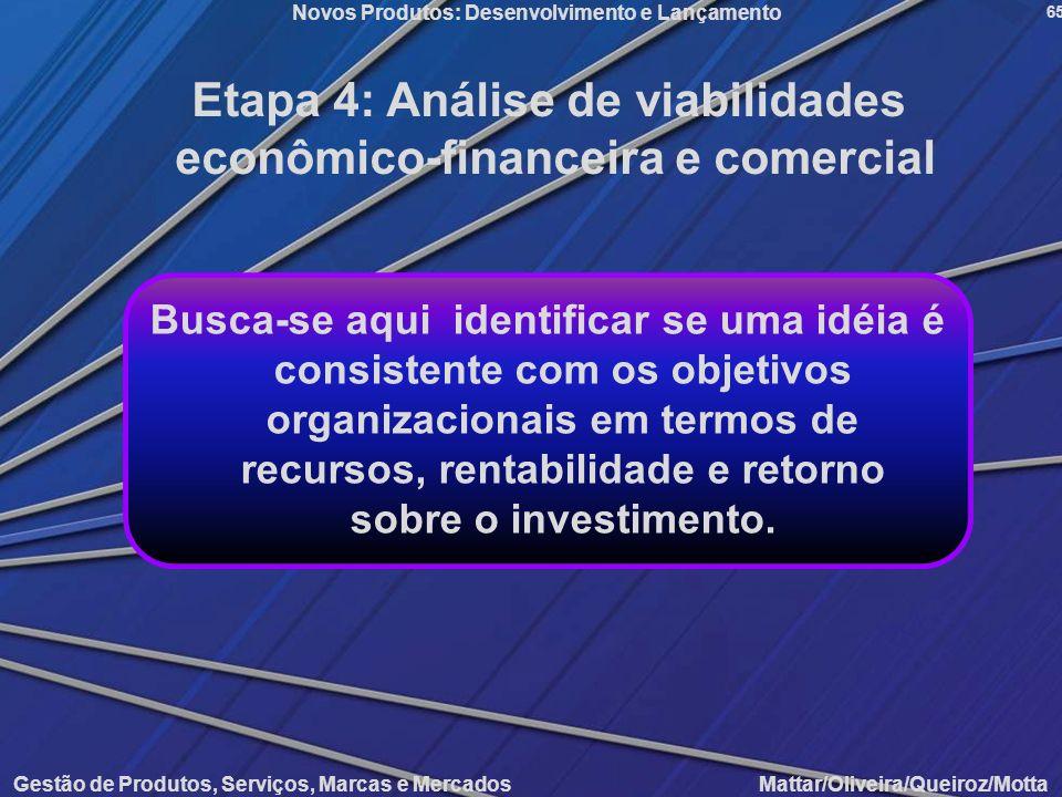 Gestão de Produtos, Serviços, Marcas e Mercados Mattar/Oliveira/Queiroz/Motta Novos Produtos: Desenvolvimento e Lançamento 65 Etapa 4: Análise de viab