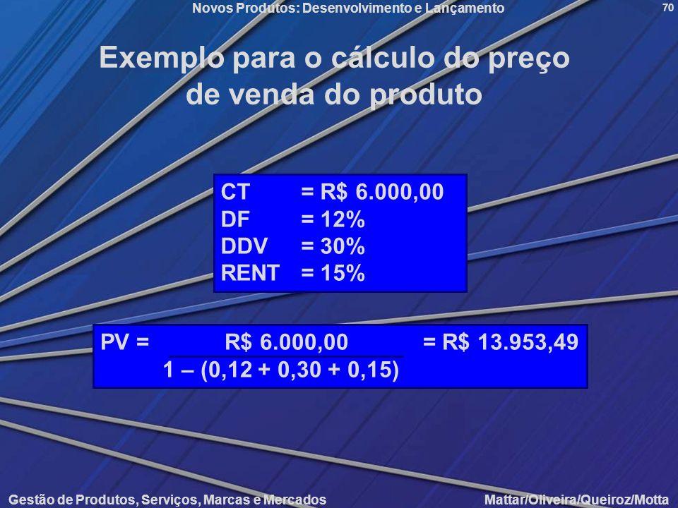 Novos Produtos: Desenvolvimento e Lançamento Gestão de Produtos, Serviços, Marcas e Mercados Mattar/Oliveira/Queiroz/Motta 70 Exemplo para o cálculo d