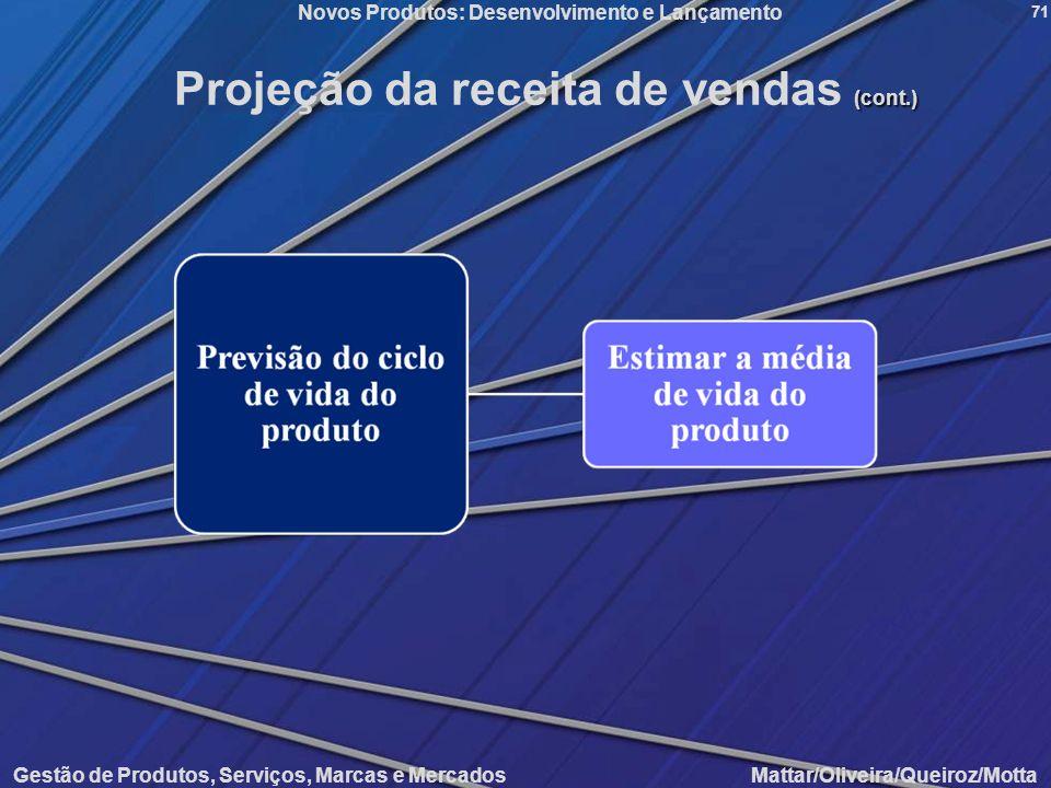 Novos Produtos: Desenvolvimento e Lançamento Gestão de Produtos, Serviços, Marcas e Mercados Mattar/Oliveira/Queiroz/Motta 71 (cont.) Projeção da rece