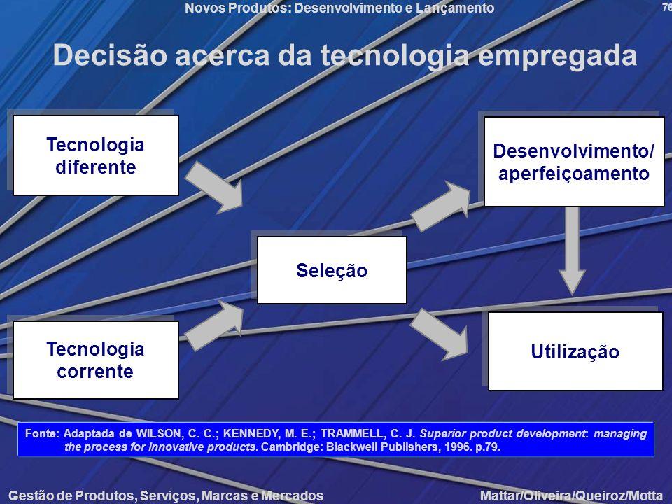 Gestão de Produtos, Serviços, Marcas e Mercados Mattar/Oliveira/Queiroz/Motta Novos Produtos: Desenvolvimento e Lançamento 76 Decisão acerca da tecnol
