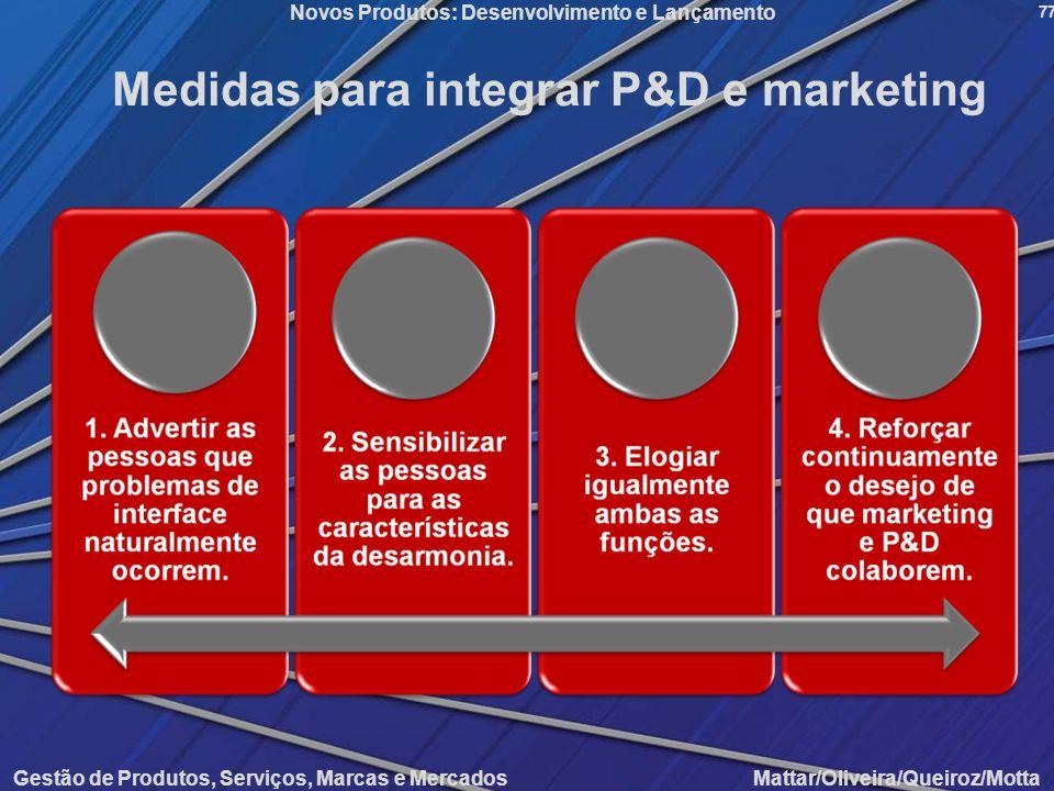Gestão de Produtos, Serviços, Marcas e Mercados Mattar/Oliveira/Queiroz/Motta Novos Produtos: Desenvolvimento e Lançamento 77 Medidas para integrar P&