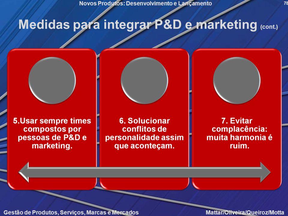Gestão de Produtos, Serviços, Marcas e Mercados Mattar/Oliveira/Queiroz/Motta Novos Produtos: Desenvolvimento e Lançamento 78 Medidas para integrar P&
