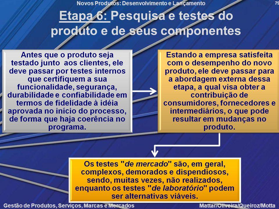 Gestão de Produtos, Serviços, Marcas e Mercados Mattar/Oliveira/Queiroz/Motta Novos Produtos: Desenvolvimento e Lançamento 79 Etapa 6: Pesquisa e test