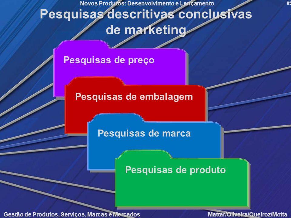 Gestão de Produtos, Serviços, Marcas e Mercados Mattar/Oliveira/Queiroz/Motta Novos Produtos: Desenvolvimento e Lançamento 85 Pesquisas de preço Pesqu
