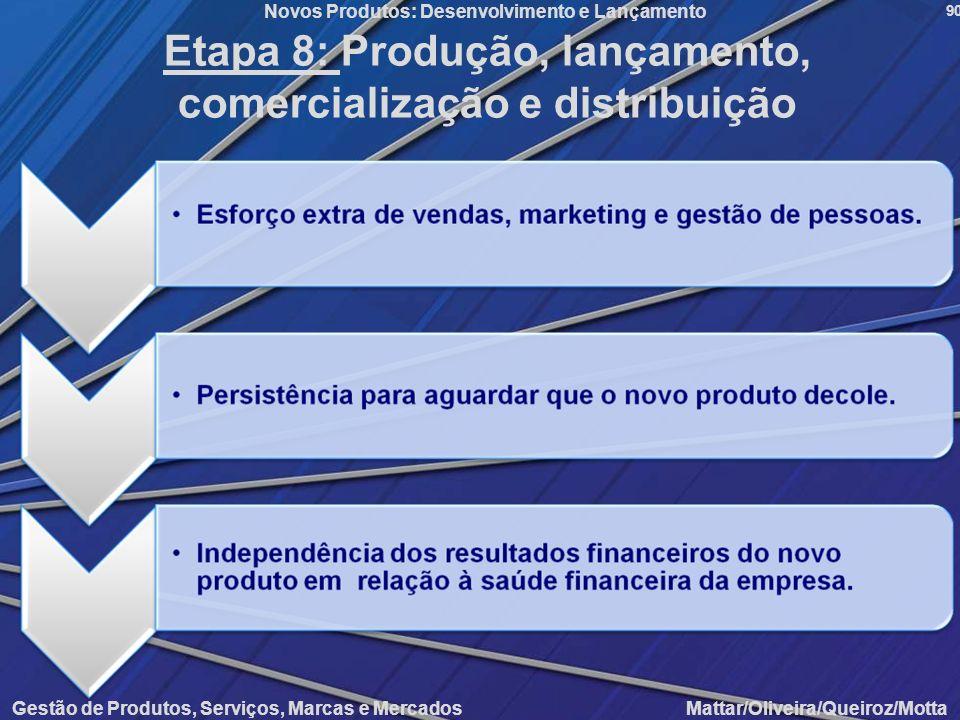 Gestão de Produtos, Serviços, Marcas e Mercados Mattar/Oliveira/Queiroz/Motta Novos Produtos: Desenvolvimento e Lançamento 90 Etapa 8: Produção, lança