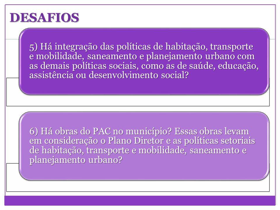 5) Há integração das políticas de habitação, transporte e mobilidade, saneamento e planejamento urbano com as demais políticas sociais, como as de saú