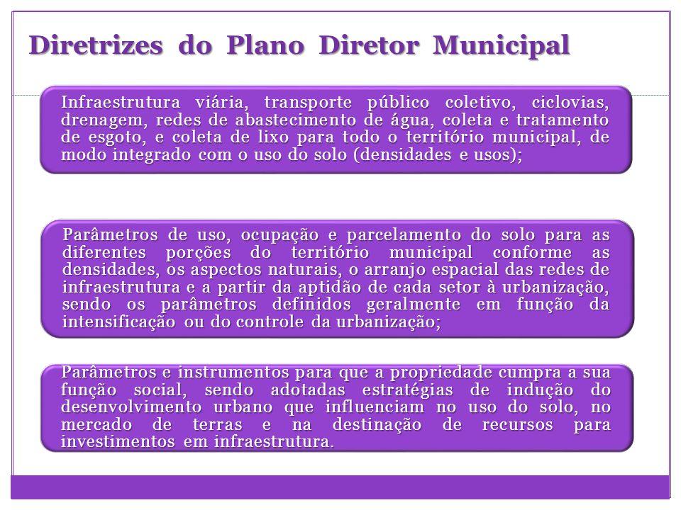Diretrizes do Plano Diretor Municipal Infraestrutura viária, transporte público coletivo, ciclovias, drenagem, redes de abastecimento de água, coleta