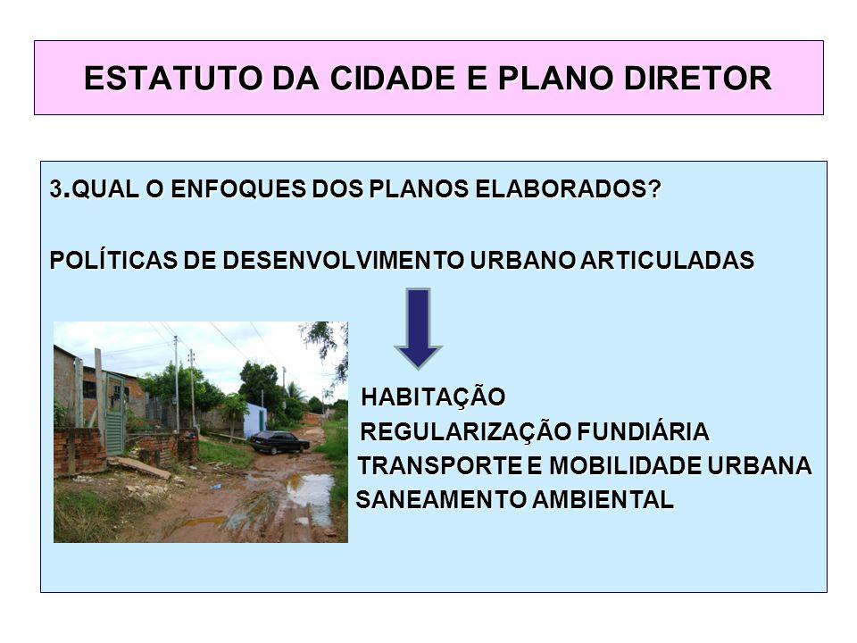 3. QUAL O ENFOQUES DOS PLANOS ELABORADOS.