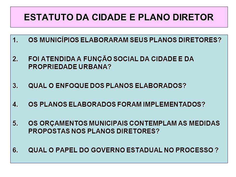 ESTATUTO DA CIDADE E PLANO DIRETOR 1.OS MUNICÍPIOS ELABORARAM SEUS PLANOS DIRETORES.