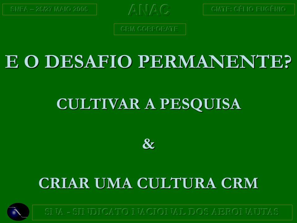 E O DESAFIO PERMANENTE CULTIVAR A PESQUISA & CRIAR UMA CULTURA CRM