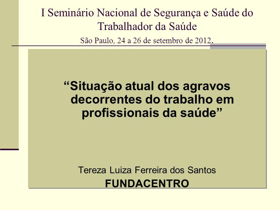 AT com material biológico Estado de São Paulo, 2011 (2007 a 2010) 52% - auxiliar e técnico de enfermagem 10% - médicos 6,7% - enfermeiros 6,3% - estudante 5,7% - auxiliares de limpeza 1,8% - coletor de lixo Fonte: Cristiane Rapparini