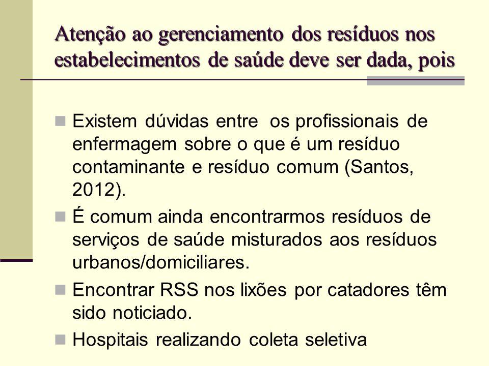 Atenção ao gerenciamento dos resíduos nos estabelecimentos de saúde deve ser dada, pois Existem dúvidas entre os profissionais de enfermagem sobre o q