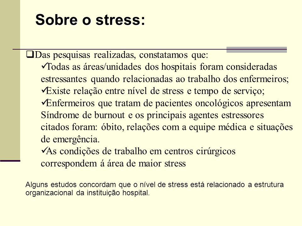 Sobre o stress: Das pesquisas realizadas, constatamos que: Todas as áreas/unidades dos hospitais foram consideradas estressantes quando relacionadas a