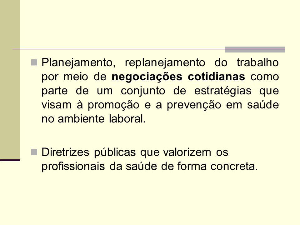 negociações cotidianas Planejamento, replanejamento do trabalho por meio de negociações cotidianas como parte de um conjunto de estratégias que visam