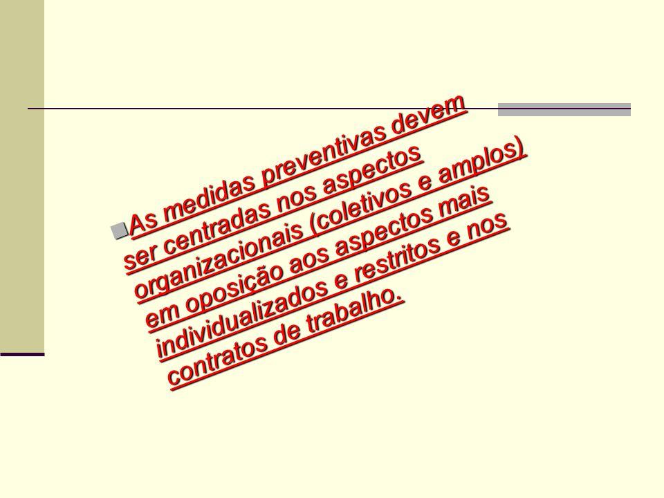As medidas preventivas devem ser centradas nos aspectos organizacionais (coletivos e amplos) em oposição aos aspectos mais individualizados e restrito