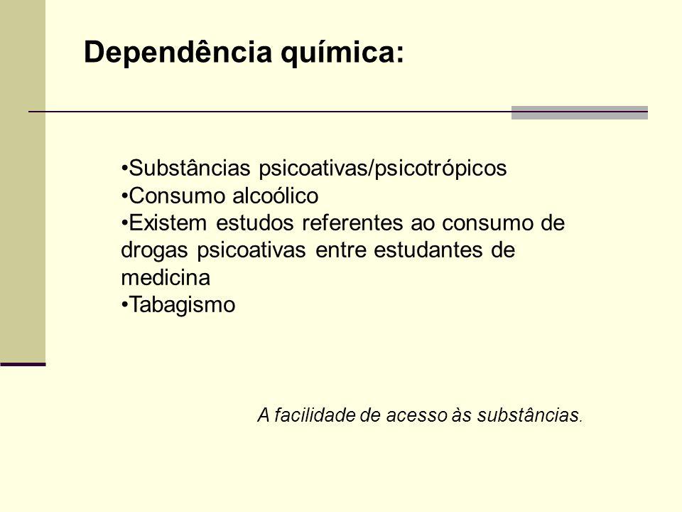 Dependência química: Substâncias psicoativas/psicotrópicos Consumo alcoólico Existem estudos referentes ao consumo de drogas psicoativas entre estudan