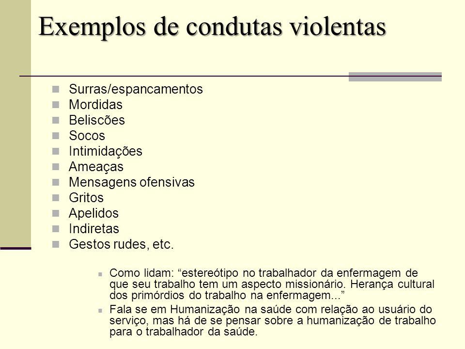 Exemplos de condutas violentas Surras/espancamentos Mordidas Beliscões Socos Intimidações Ameaças Mensagens ofensivas Gritos Apelidos Indiretas Gestos