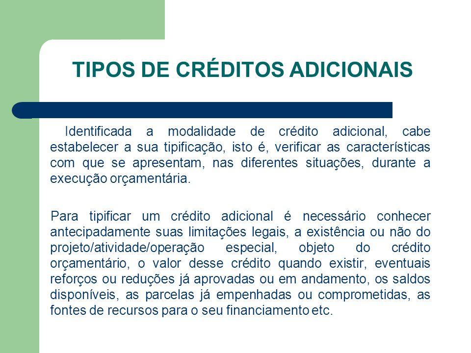 TIPOS DE CRÉDITOS ADICIONAIS Identificada a modalidade de crédito adicional, cabe estabelecer a sua tipificação, isto é, verificar as características