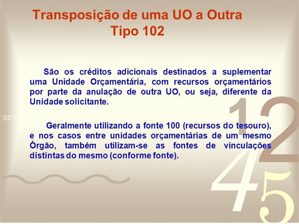 Transposição de uma UO a Outra Tipo 102 São os créditos adicionais destinados a suplementar uma Unidade Orçamentária, com recursos orçamentários por p