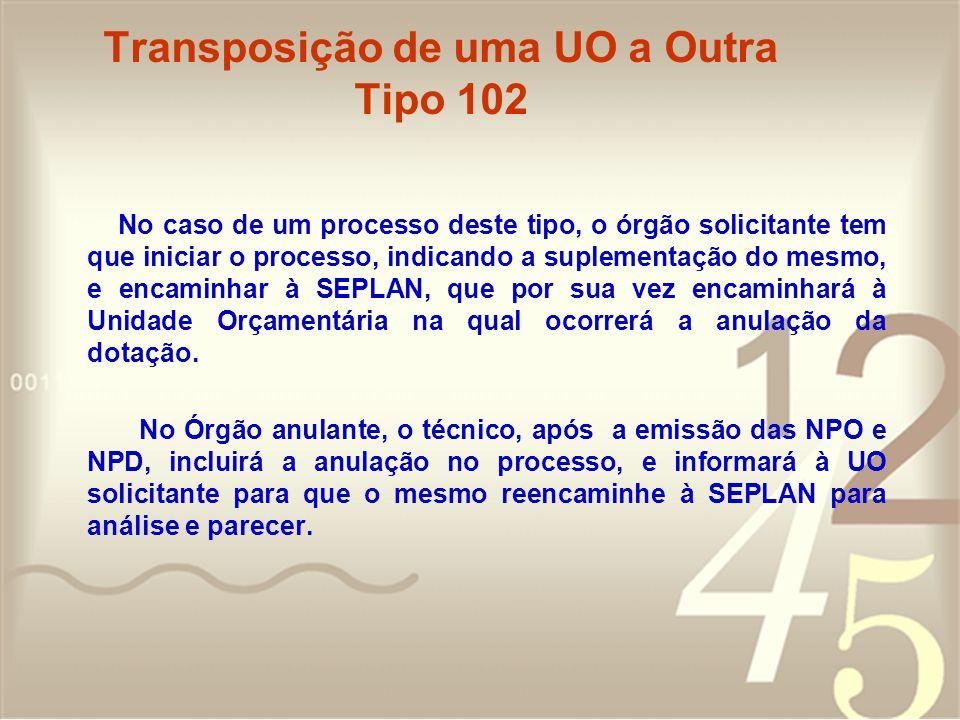 Transposição de uma UO a Outra Tipo 102 No caso de um processo deste tipo, o órgão solicitante tem que iniciar o processo, indicando a suplementação d