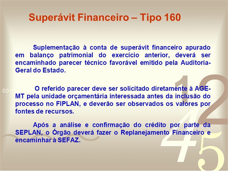 Superávit Financeiro – Tipo 160 Suplementação à conta de superávit financeiro apurado em balanço patrimonial do exercício anterior, deverá ser encamin