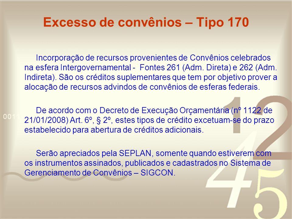Excesso de convênios – Tipo 170 Incorporação de recursos provenientes de Convênios celebrados na esfera Intergovernamental - Fontes 261 (Adm. Direta)