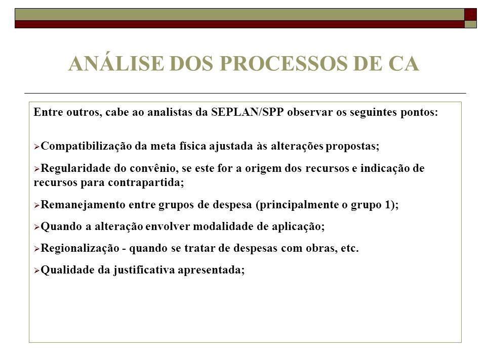 ANÁLISE DOS PROCESSOS DE CA Entre outros, cabe ao analistas da SEPLAN/SPP observar os seguintes pontos: Compatibilização da meta física ajustada às al