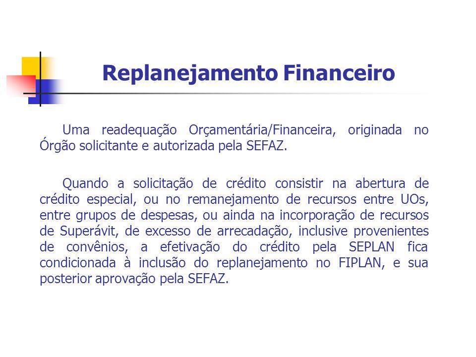 Replanejamento Financeiro Uma readequação Orçamentária/Financeira, originada no Órgão solicitante e autorizada pela SEFAZ. Quando a solicitação de cré