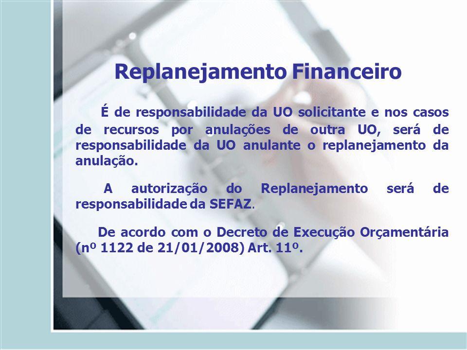 Replanejamento Financeiro É de responsabilidade da UO solicitante e nos casos de recursos por anulações de outra UO, será de responsabilidade da UO an