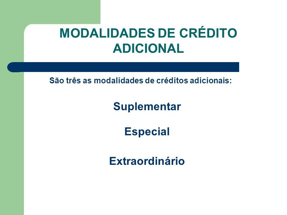 MODALIDADES DE CRÉDITO ADICIONAL São três as modalidades de créditos adicionais: Suplementar Especial Extraordinário