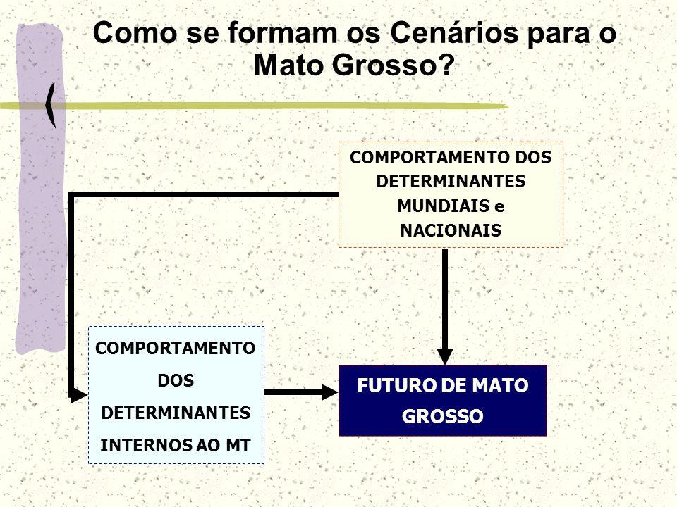 Como se formam os Cenários para o Mato Grosso? FUTURO DE MATO GROSSO COMPORTAMENTO DOS DETERMINANTES MUNDIAIS e NACIONAIS COMPORTAMENTO DOS DETERMINAN