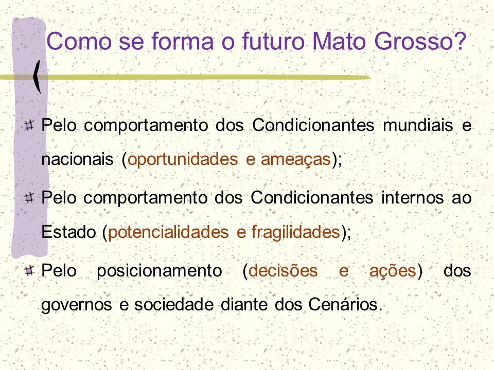 Como se forma o futuro Mato Grosso? Pelo comportamento dos Condicionantes mundiais e nacionais (oportunidades e ameaças); Pelo comportamento dos Condi