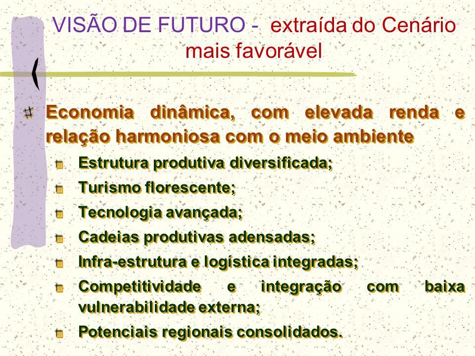 VISÃO DE FUTURO - extraída do Cenário mais favorável Economia dinâmica, com elevada renda e relação harmoniosa com o meio ambiente Estrutura produtiva